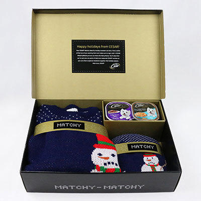 """Cesar """"Matchy Matchy"""" Sweater Kit (manufactured by SAVVY) matching sweaters, belly bands, stickers, welcome card, and packaging."""
